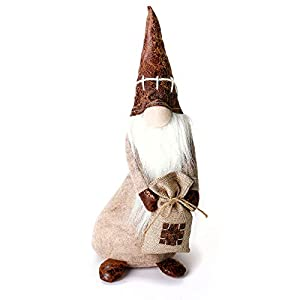 ITOMTE Handmade Swedish Gnome, Scandinavian Tomte with Spring, Yule Santa Nisse, Nordic Figurine with Pocket, Plush Elf…