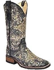 Corral Womens Crackle Embroidered Cowgirl Boot Square Toe Black 11 M US