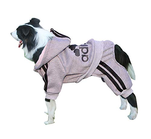 Rdc Pet Adidog Dog Hoodies, Clothes,Fleece Jumpsuit Warm Sweater,4 Legs Cotton Jacket Sweat Shirt Coat Small Dog Medium Dog Large Dog (6XL, Grey) ()
