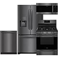 Frigidaire Gallery 4-Piece Black Stainless Steel Kitchen Package with FGHB2868TD 36 French Door Refrigerator, FGGF3036TD 30 Freestanding Gas Range, FGID2466QD 24 Fully Integrated Dishwasher and FGM