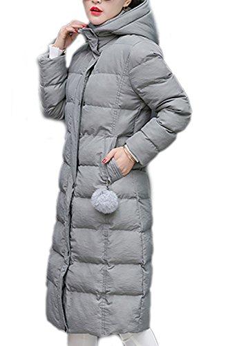 Elegantes de sudadera con capucha de lana abrigo abrigos de las mujeres con bolsillos Grey