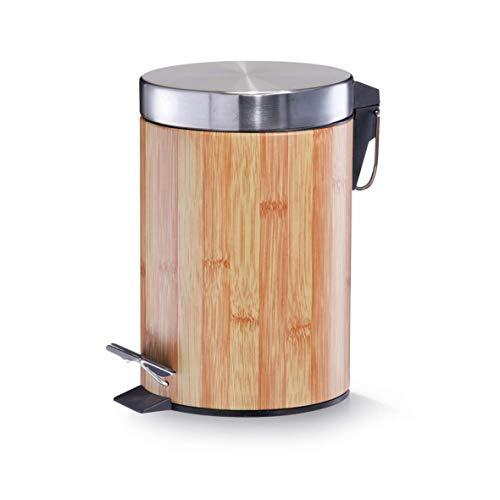 Zeller-18561-Cubo-de-basura-con-pedal-o17-cm-altura-26-cm-3-litros-color-bambu