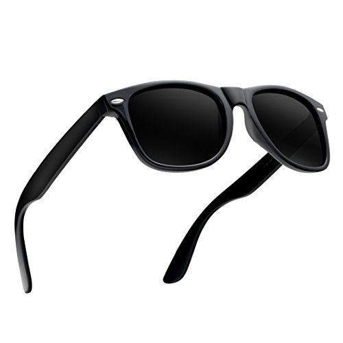 Wayfarer Sunglasses for Men Women-wearpro Vintage Polarized Sunglasses WP1026(bright black by wearpro