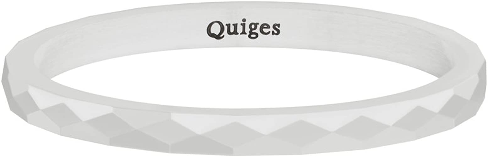 Quiges Stainless Steel White Faceted Ceramic Inner Ring 2mm Height for Stackable Ring