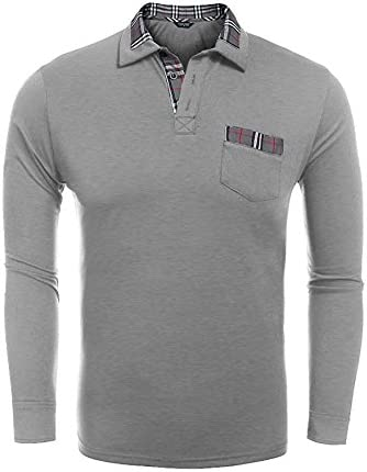 FISOUL Men's Casual Classic Polo Shirt 3 Buttons Athletic Long Sleeve Polo Shirt With Plaid Collar