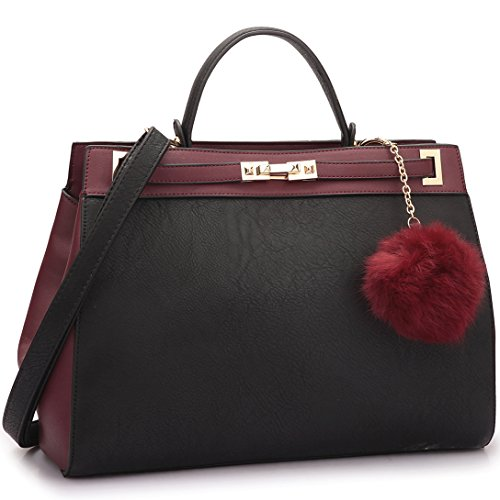 dasein-womens-designer-top-handle-satchel-handbag-two-tone-shoulder-bag-with-pom-pom-puff-black-wine