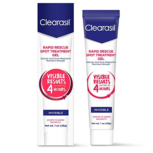 Clearasil Rapid Rescue Spot Treatment Gel, Invisible-Medicated Benzoyl Peroxide Acne Treatment. Begins Working Instantly, Results As Fast As 4 Hours, Keeps Treating Pimples After Use, 1 oz.