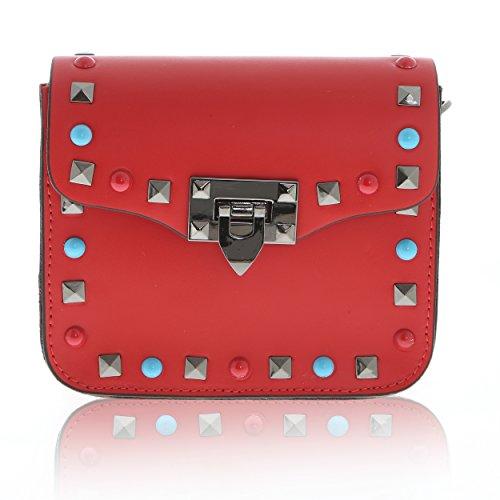 Bandoulière Cuir À Véritable Chicca Rouge Sac Borse In Cm 7 15 X En Made 18 Italy Femme YEnF00xwB