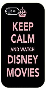 iPhone 5 / 5s Keep calm and watch Disney movies - black plastic case / Inspirational and motivational