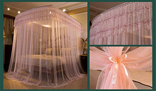 U-Type Retractable Bracket Mosquito net Double Bed Mosquito net Princess Mosquito net Three Door Thick Yarn Thickening Mosquito net Luxury Mosquito net, Pink, L (87-210Adjustment) W180cm by RFVBNM Mosquito net (Image #4)
