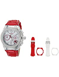 Womens Cruise Quartz Stainless Steel and Leather Casual Watch, Color:red (