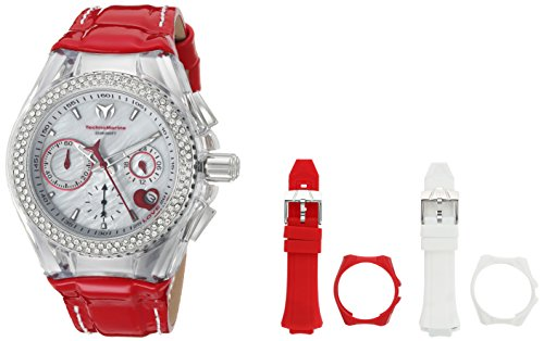 Technomarine Women's 'Cruise' Quartz Stainless Steel and Leather Casual Watch, Color Red (Model: ()