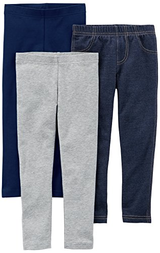 Carter's Baby Girls' 3-Pack Leggings, Navy/Grey/Denim, 12 Months ()