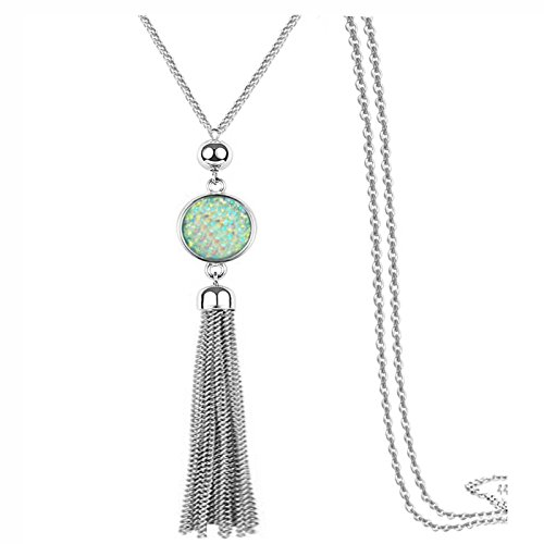Sweater Chain and Tassel Long Necklace Bar Y Lariat Drop Pendant for (Tassel Drop Necklace)