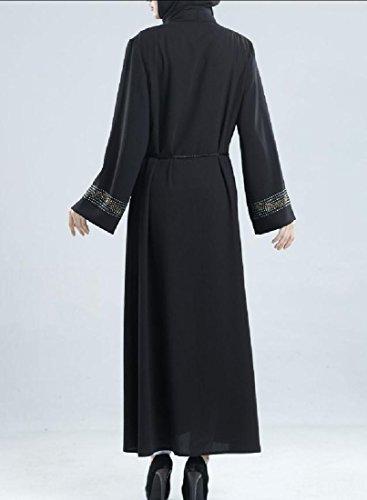 Musulmani Dubai Malaysia Lungo Paillettes donne Cardigan Jalabiyas Nero Coolred Abito Bg4qTfwxq