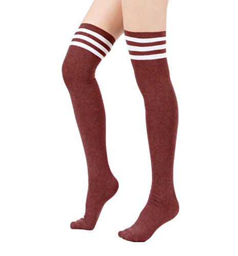 [Menglihua Women Warmers Stripe Tube Athlete Cosplay Stockings Over Knee High Socks 1 Pair-(Burgundy) One] (Stormtroopers Outfit)