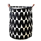 Plaid Letters Animal Storage Bin, JUNMAO Round Canvas Cotton Fabric Storage Basket Organizer Hamper with Handles for Clothes Toy Laundry Bathroom, Folding/Waterproof (Black Stripe, 16''x20'')