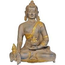 CraftVatika Large Brass Buddha statue-Medicine Pose Antique Finished Sculpture Tibetan Buddhism Ancient Figurines