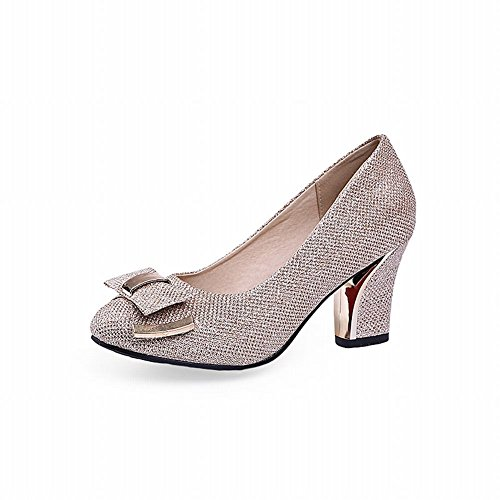 Carolbar Mujeres Bows Elegance Fashion Charm Chunky High Heel Dress Zapatos Oro