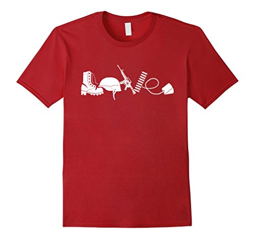 Men's Love Army Veteran T-shirts 2XL Cranberry