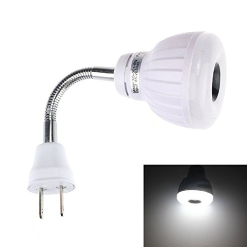 GOTD PIR Infrared Sensor light ,AC 110V 220V 5W LED PIR Infrared Sensor Motion Detector Light Bulb Lamp US Plug (Pure White) ()