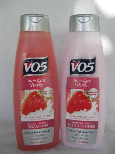 1 Set - Alberto VO5 Moisture Milks Strawberries & Cream Moisturizing Shampoo & Conditioner 15 fl.oz. -