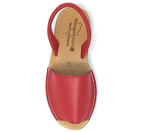 39 Cómodas Tipo Piel de Muy para Rojo Sandalias Menorquinas Mujer A7Hpx1