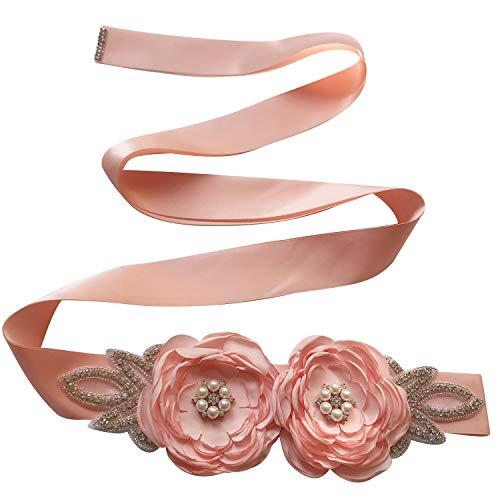 - Spmor Women's Bridal Wedding Dress Rhinestone Sash Maternity Sash Belt Flower Baby Girl Sash Belt,202-Light Pink