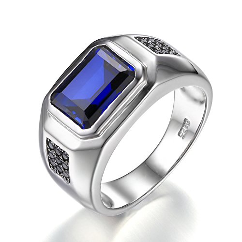 Jewelrypalace Men 4.3ct Created Blue Sapphire Natural Black Spinel Anniversary Wedding Ring Genuine 925 Sterling Silver Size 12