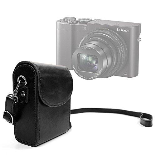 DURAGADGET Retro-Inspired Compact Camera Case in Classic Black - Suitable for Panasonic Lumix TZ80|Lumix TZ100(SZ100)|Lumix DMC-ZS100|Lumix DMC-ZS60(TZ60)|Lumix DC-TZ90|Lumix DC-TZ91