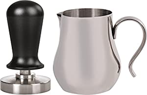 LuxHaus 58mm Calibrated Pressure Tamper for Coffee and Espresso Bundle with FREE GIFT - 12oz Stainless Steel Milk Frothing Pitcher from LuxHaus
