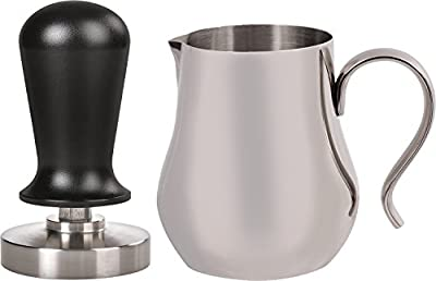 LuxHaus 58mm Calibrated Pressure Tamper for Coffee and Espresso Bundle with FREE GIFT - 12oz Stainless Steel Milk Frothing Pitcher
