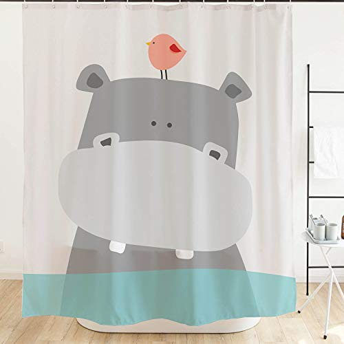 Ofat Home Cute Hippo Kids Shower Curtain, 72X72 Extra Long Shower Curtain,Teal White Grey Animal Baby River Horse Bird Ocean Fabric Shower Curtains for Bathroom Sets with Hooks (Kids Shower Curtain)