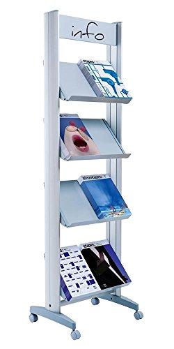 8 Shelf Single Sided Rack - Paperflow EasyDisplays Single-Sided Literature Display, Metal Shelves, Medium, 19.75
