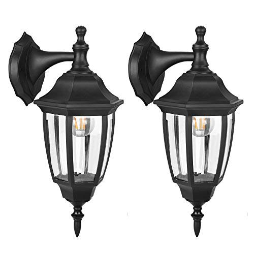 Cheap FUDESY Outdoor LED Wall Lanterns – Special Handling Anti-Corrosion Durable Plastic Material, Waterproof Exterior Wall Light Fixtures for Front Porch, Yard, Garage, etc. – 2 Pack