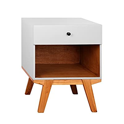 Porthos Home Clementine 1 Drawer Nightstand, White - Solid wood construction Sliding Drawer Mid-century - bedroom-furniture, nightstands, bedroom - 41C13sgyjML. SS400  -