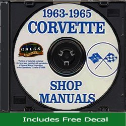 (1963 1964 1965 Corvette Chevy Chevrolet Repair Shop Service Manual CD (with Decal) )
