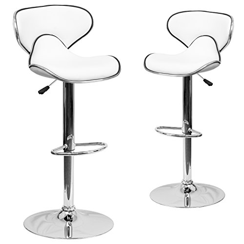 2 Pk. Contemporary Cozy Mid-Back White Vinyl Adjustable Height Bar Stool with Chrome Base