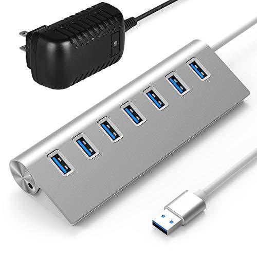 Rybozen 7-Port USB 3.0 Hub, Aluminum Data Hub with 5V/4A 20W Power Adapter for Desktop PC/Laptop
