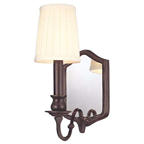 Hudson Valley Lighting Endicott 1-Light Mirrored Wall Sconce - Old Bronze Finish with Off White Faux Silk Shade