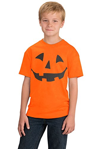 JACK O' LANTERN PUMPKIN Youth T-shirt/Easy Halloween Costume Fun Tee-Orange-Large -