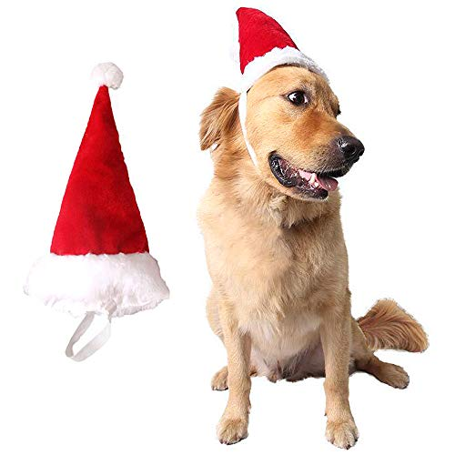 Santa Hat With Antlers (Wiz BBQT Adjustable 3D Christmas Santa Hat for Big Dogs Pets Holiday Party)