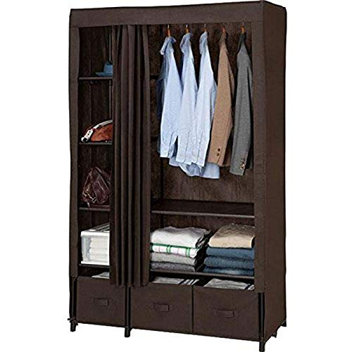 - Jolly Single Simple Wardrobe Steel Pipe Thickened and Thickened Steel Frame Folding Fabric (Color : Dark Coffe)