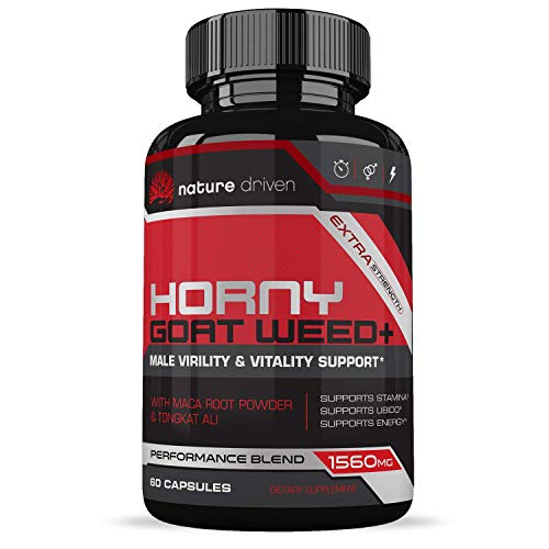Horny Goat Weed Extract - for Men and Women - 1560mg of Epimedium, Maca & Tribulus - Increases Power, Performance, Stamina, Energy - 60 Capsules - Nature Driven