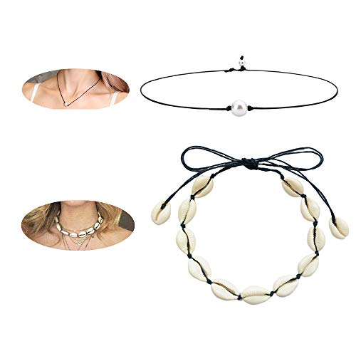 - Canboer Natural Shell Choker Handmade Black Rope Pearl Hawaii Beach Necklace Jewelry for Women Girls