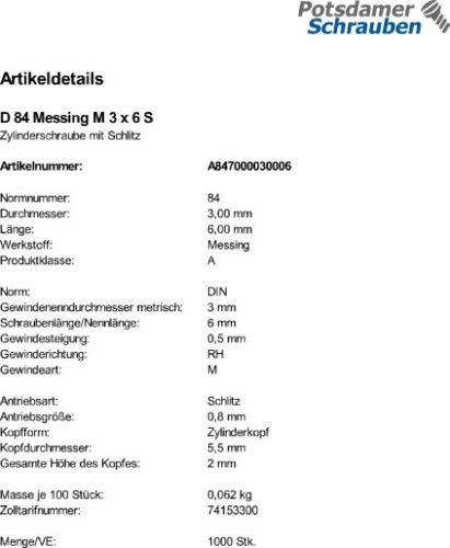 1000 Schlitz Zylinderschrauben DIN 84 Messing M3x6