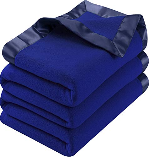 Utopia Bedding Polar Fleece Premium Bed Blanket with Sateen Ribbon Edges - Extra Soft Brushed Microfiber - (Queen, Navy)
