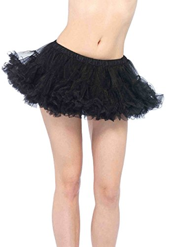 Leg Avenue Women's Puffy Chiffon Mini Petticoat Dress, Black, One Size
