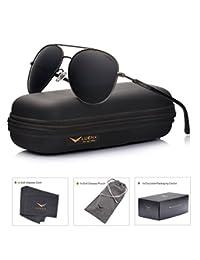 LUENX Aviator Sunglasses Polarized Mens Womens with Case - UV 400 Protection 60mm