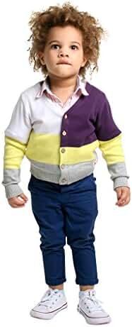 Cherry Crumble California Premium Cotton Color-Block Cardigan For Boy